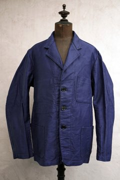 mid 20th c. blue moleskin lapeled work jacket