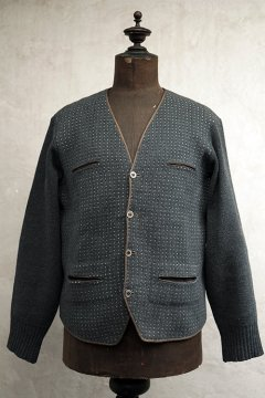 ~1930's gray wool knitted cardi dead stock