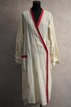 1920-1930's linen × cotton wrap dress/coat
