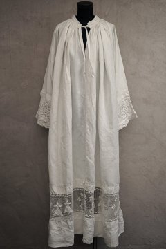 early 20th c. linen long church smock