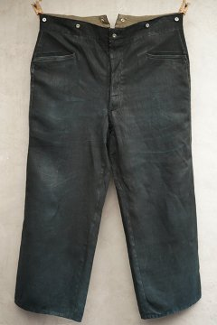 early 20th c. indigo linen maquignon work trousers