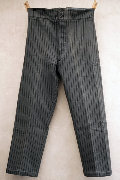 1940's-1950's striped pique work trousers dead stock