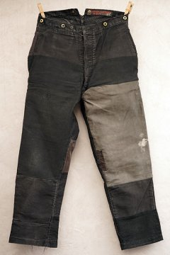 1930's patched black moleskin work trousers