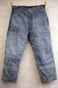 mid 20th c. patched blue cotton work trousers