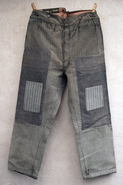 cir. 1930's striped cotton work trousers patched