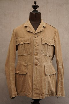 ~1930's 4 pockets beige cotton jacket