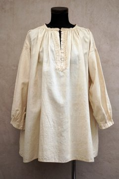 ~early 20th c. ecru linen × cotton biaude