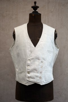 early 20th c. double breasted white linen gilet