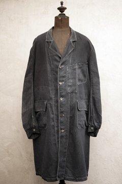 ~1930's black linen maquignon coat