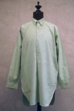 1940's green striped cotton shirt dead stock