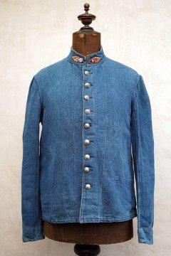 early 20th c. indigo herringbone linen fire fighter jacket