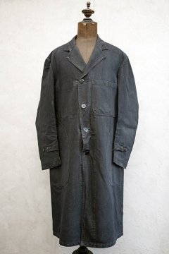 mid 20th c. black linen maquignon coat