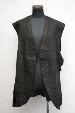 early 20th c. black linen gilet / sleeveless top