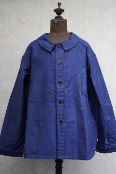 cir. mid 20th c. blue moleskin work jacket 60 dead stock