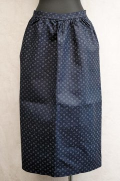 early 20th c. double printed indigo linen apron dead stock