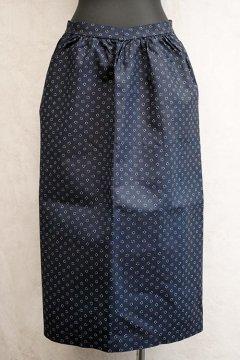 early 20th c. double printed indigo linen apron dead stock