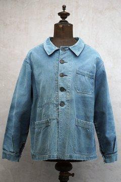 ~1930's indigo linen × cotton work jacket