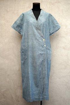 cir.1930's indigo chambray S/SL wrap dress