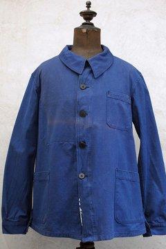 1930-1940's indigo linen cotton work jacket dead stock