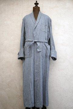 cir. 1940's indigo striped long gown / coat