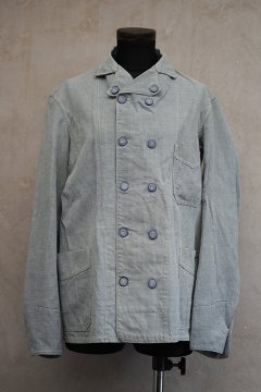 1930's-1940's indigo houndstooth cotton double breasted work jacket