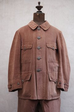 ~1940's brown cotton hunting jacket and trousers set