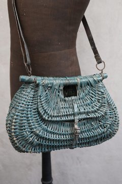 antique blue straw fishing bag