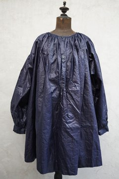 late 19th - early 20th c. waxed indigo linen smock