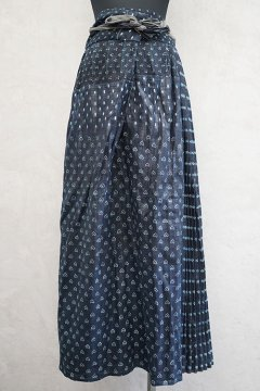 early-mid 20th c. indigo linen printed long skirt