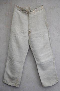 early 20th c. herringbone linen bourgeron trousers