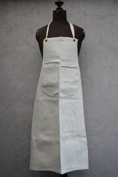 mid 20th c. herringbone cotton linen apron dead stock