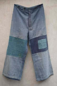 1940's blue work trousers patched