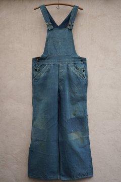 1930-1940's indigo cotton linen salopette