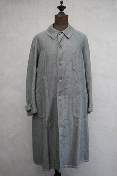 1930's - 1940's linen × cotton atelier coat