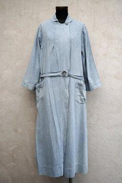 1930's-1940's blue linen x cotton wrap dress/coat