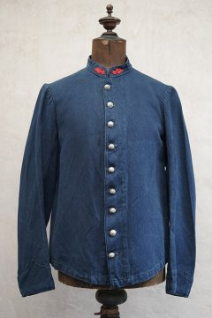 early 20th c. indigo herringbone linen cotton fire fighter jacket