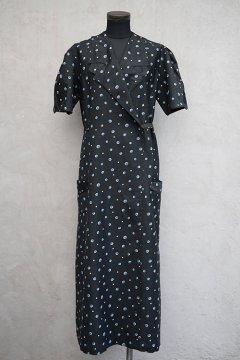 1930's-1940's dead stock black S/SL wrap dress