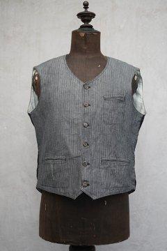 ~1930's striped cotton work gilet