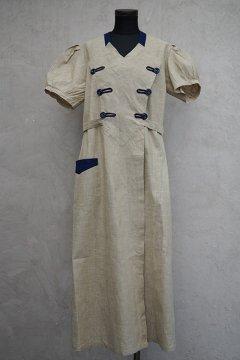 cir.1930's beige S/SL work dress