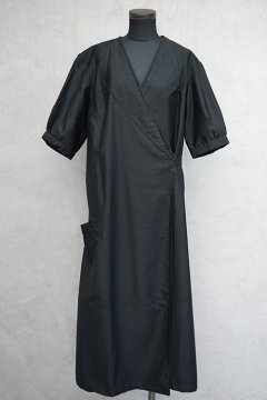 1930's-1940's black S/SL work wrap dress dead stock