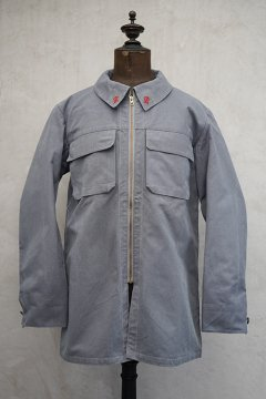 cir. mid 20th c. Air France mechanic gray cotton jacket dead stock