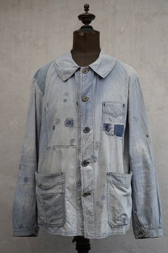 1930's well darned blue cotton work jacket