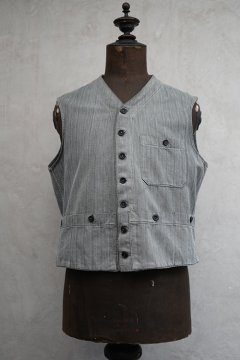 ~1930's gray striped cotton gilet 5 pockets