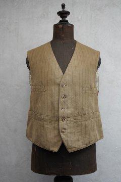 ~1930's beige striped cotton gilet 6 pockets