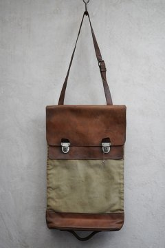 ~1940's leather × canvas bag