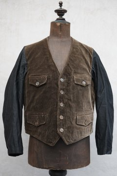 mid 20th c. brown cord gilet jacket
