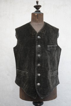 1930's-1940's dark brown cord work gilet with 6 hunting buttons