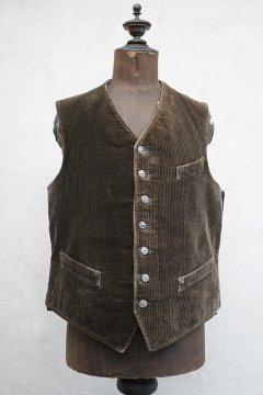 1930's-1940's dark brown cord work gilet with 7 hunting buttons
