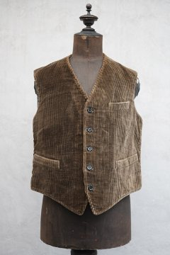 1930's-1940's brown cord work gilet