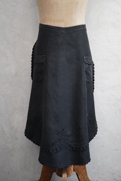 ~1930's black embroidered apron